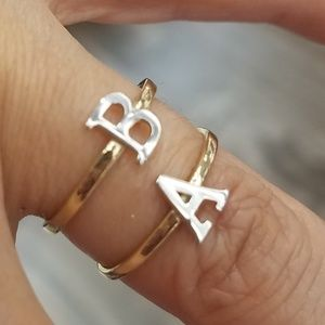 14k Gold Initial letter A& B Ring All Letter